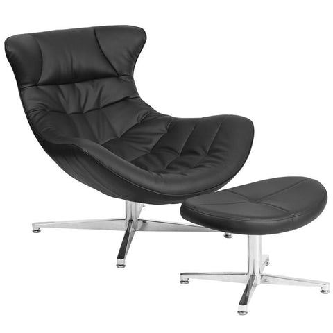 Lounge Chairs - Flash Furniture ZB-40-COCOON-GG Cocoon Retro Leather Lounge Chair with Ottoman | 889142062516 | Only $429.80. Buy today at http://www.contemporaryfurniturewarehouse.com
