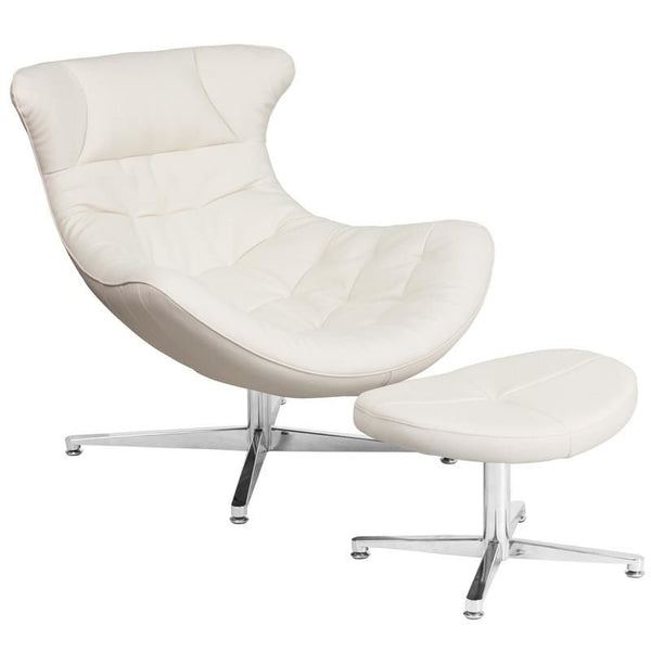 Lounge Chairs - Flash Furniture ZB-41-COCOON-GG Cocoon Retro Leather Lounge Chair with Ottoman | 889142062523 | Only $429.80. Buy today at http://www.contemporaryfurniturewarehouse.com