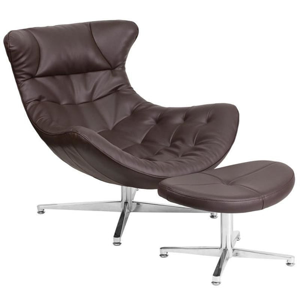 Lounge Chairs - Flash Furniture ZB-42-COCOON-GG Cocoon Retro Leather Lounge Chair with Ottoman | 889142062530 | Only $429.80. Buy today at http://www.contemporaryfurniturewarehouse.com