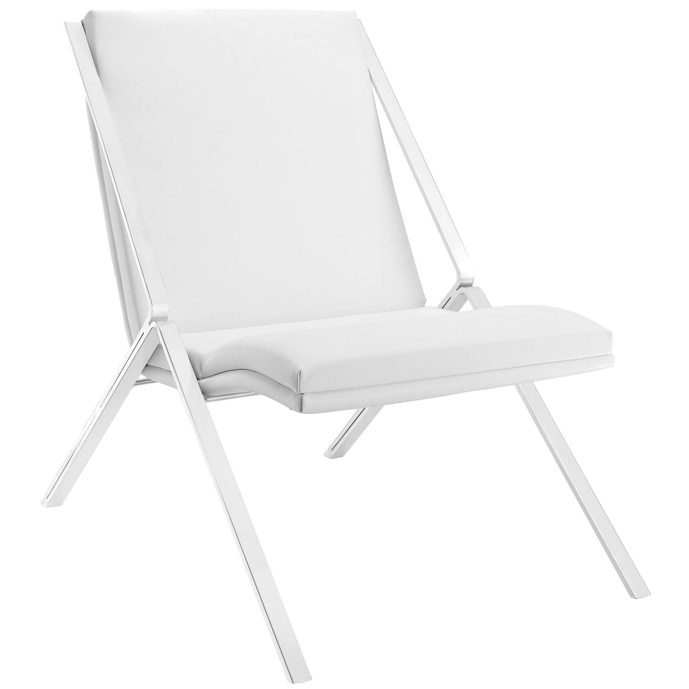 Swing Upholstered Faux Leather Lounge Chair White ...