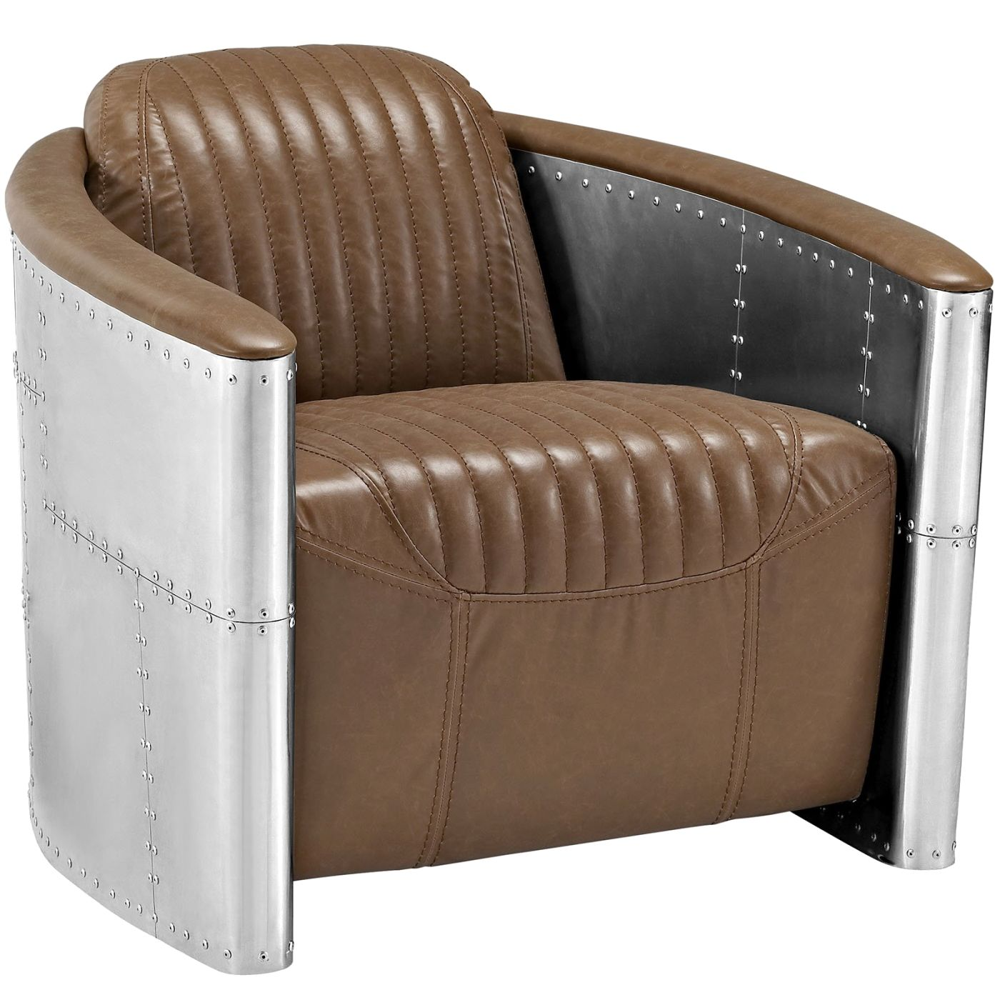 Amazing Visibility Upholstered Faux Leather Lounge Chair Brown ...