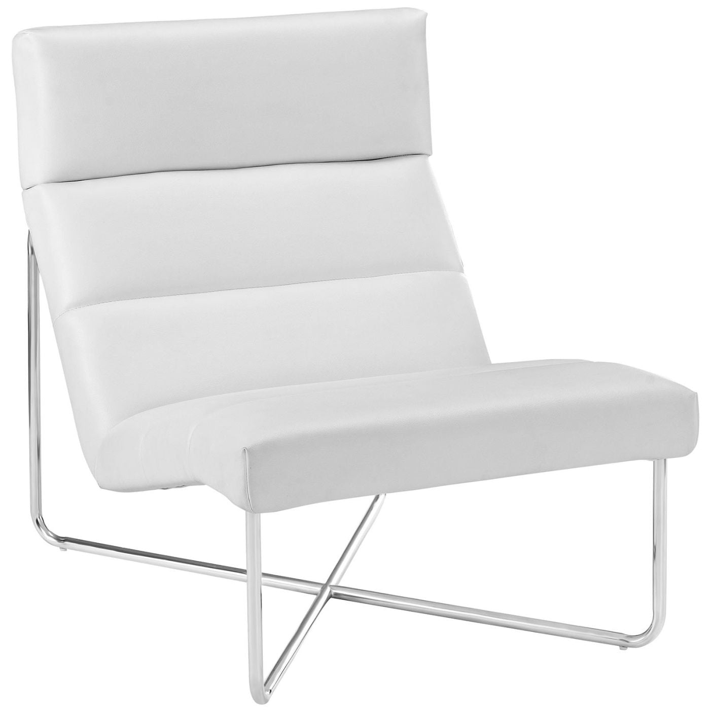 Reach Upholstered Faux Leather Lounge Chair White ...