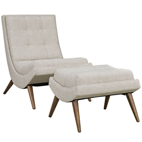 Ramp Upholstered Fabric Lounge Chair Set Sand