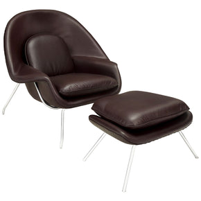 W Leather Lounge Chair Dark Brown