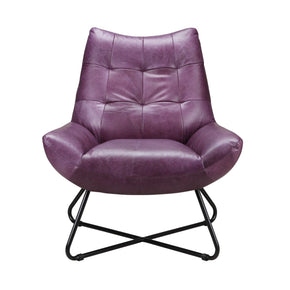 Graduate Lounge Chair Purple Top Grain Leather Iron Frame