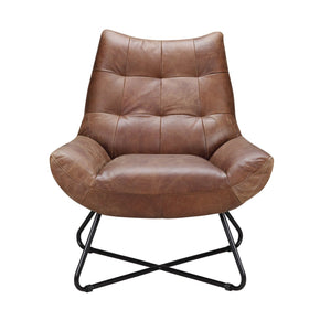 Graduate Lounge Chair Cappuccino Top Grain Leather Iron Frame