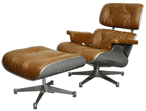 Grayson Lounge Chair And Ottoman Aluminium Frame Distressed Caramel