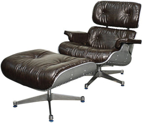 Grayson Lounge Chair And Ottoman Aluminium Frame Distressed Java