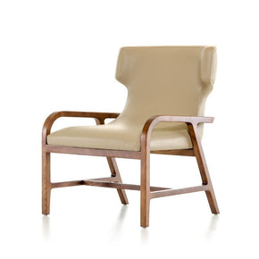 Modrest Olenna Modern Taupe & Walnut Accent Chair Lounge