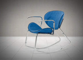 Modrest Corvallis Modern Blue Fabric Rocking Arm Chair Lounge