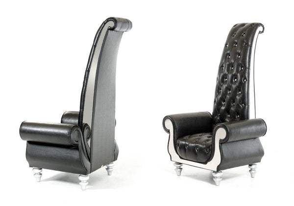 Divani Casa Luxe Neo-Clasical Black Italian Leather Tall Chair Lounge