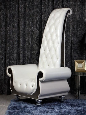 Divani Casa Luxe - Neo-Classical Pearl White Italian Leather Tall Chair Lounge
