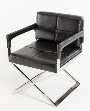 Lounge Chairs - Vig Furniture VGVC839A-BLK Modrest Kubrick Black Bonded Leather Accent Chair | 840729146449 | Only $404.80. Buy today at http://www.contemporaryfurniturewarehouse.com