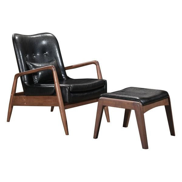 Zuo Modern Sully Lounge Chair U0026 Ottoman Black At Contemporary Furniture  Warehouse