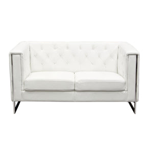 Chelsea Leatherette Love With Metal Leg - White Loveseat