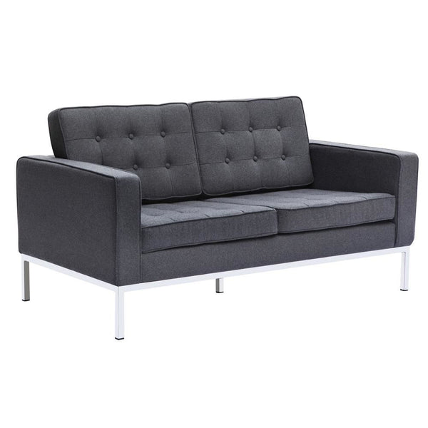 Button Loveseat In Wool Gray