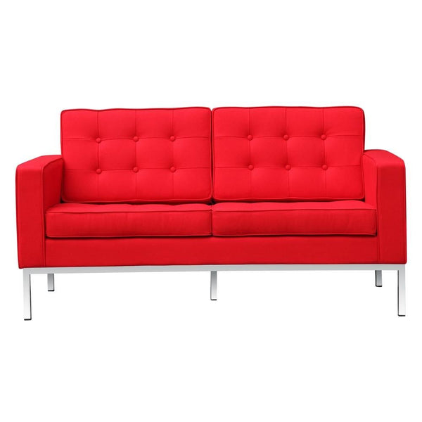 Button Loveseat In Wool Red