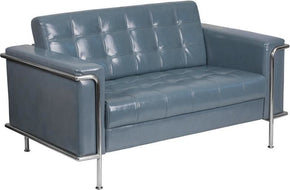 Lesley Series Contemporary Loveseat With Encasing Frame Gray