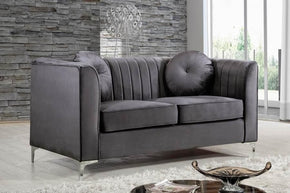 Isabelle Grey Velvet Loveseat