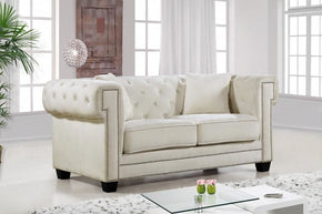 Bowery Cream Velvet Loveseat