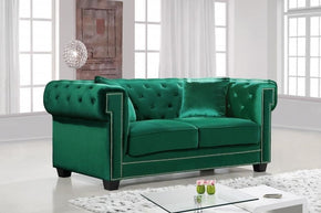 Bowery Green Velvet Loveseat