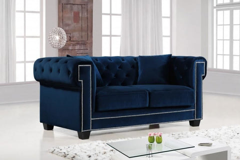 Loveseats - Meridian 614Navy-L Bowery Navy Velvet Loveseat | 647899945311 | Only $904.80. Buy today at http://www.contemporaryfurniturewarehouse.com