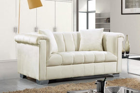 Loveseats - Meridian 615Cream-L Kayla Cream Velvet Loveseat | 647899945496 | Only $854.80. Buy today at http://www.contemporaryfurniturewarehouse.com