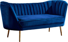 Loveseats - Meridian 622Navy-L Margo Navy Velvet Loveseat with Gold Legs | 647899947537 | Only $854.80. Buy today at http://www.contemporaryfurniturewarehouse.com