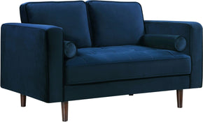 Loveseats - Meridian 625Navy-L Emily Navy Velvet Loveseat | 647899946639 | Only $664.80. Buy today at http://www.contemporaryfurniturewarehouse.com