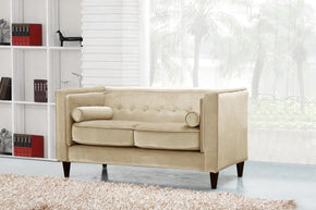 Loveseats - Meridian 642BE-L Taylor Beige Velvet Loveseat | 635963990671 | Only $649.80. Buy today at http://www.contemporaryfurniturewarehouse.com