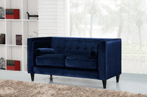 Loveseats - Meridian 642Navy-L Taylor Navy Velvet Loveseat | 635963990794 | Only $664.80. Buy today at http://www.contemporaryfurniturewarehouse.com