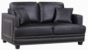 Ferrara Black Leather Loveseat