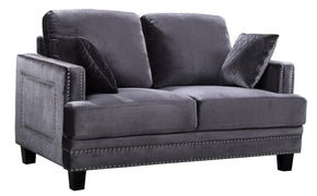 Ferrara Grey Velvet Loveseat