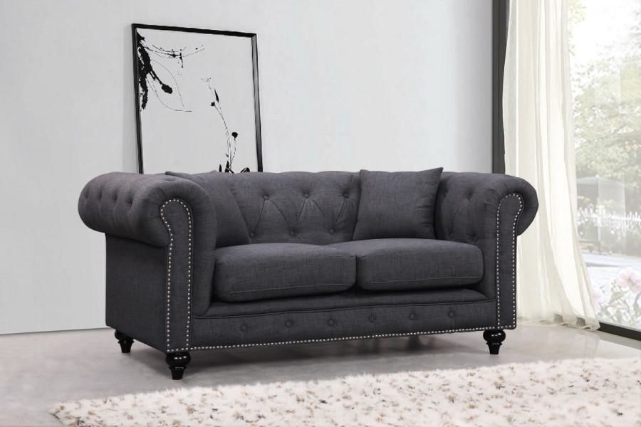 Chesterfield Grey Linen Loveseat