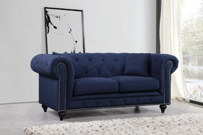 Loveseats - Meridian 662Navy-L Chesterfield Navy Linen Loveseat | 635963991272 | Only $904.80. Buy today at http://www.contemporaryfurniturewarehouse.com