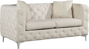 Scarlett Cream Velvet Loveseat