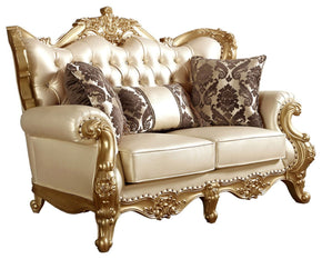Bennito French Provincial Gold Pearl Leather Loveseat