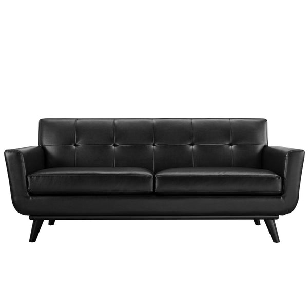 Awesome Buy Modway Eei 1337 Blk Engage Mid Century Modern Bonded Leather Loveseat At Contemporary Furniture Warehouse Bralicious Painted Fabric Chair Ideas Braliciousco