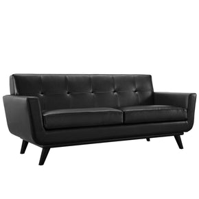 Engage Mid Century Modern Bonded Leather Loveseat Black