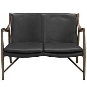 Makeshift Leather Loveseat Walnut Black