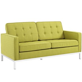 Loft Upholstered Fabric Loveseat Wheatgrass