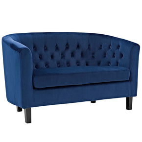 Prospect Deep Button Tufting Velvet Loveseat Navy