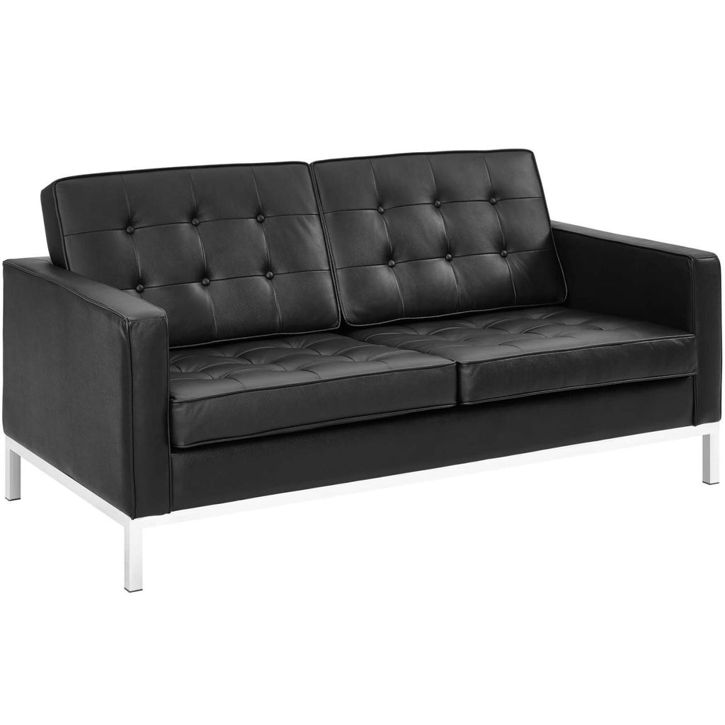 Loft Leather Loveseat Black