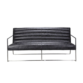 Desmond 2-Seater - Black Top Grain Leather Hardwood & Plywood Frame Loveseat