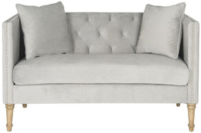 Sarah Tufted Settee With Pillows Grey Loveseat