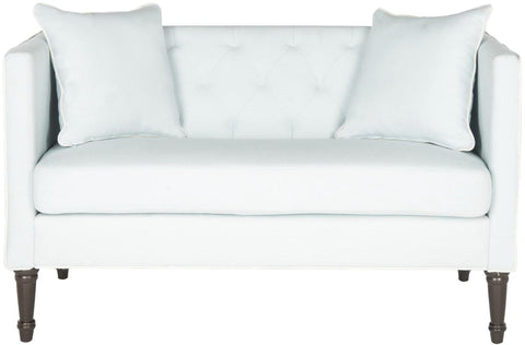 Sarah Tufted Settee With Pillows Powder Blue&white Loveseat