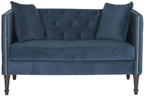 Sarah Tufted Settee With Pillows Navy Loveseat