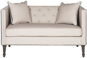 Sarah Tufted Settee With Pillows Taupe&black Loveseat