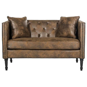 Sarah Tufted Settee With Pillows Vintage Brown Loveseat