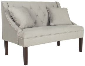 Zoey Velvet Settee Light Beige Loveseat